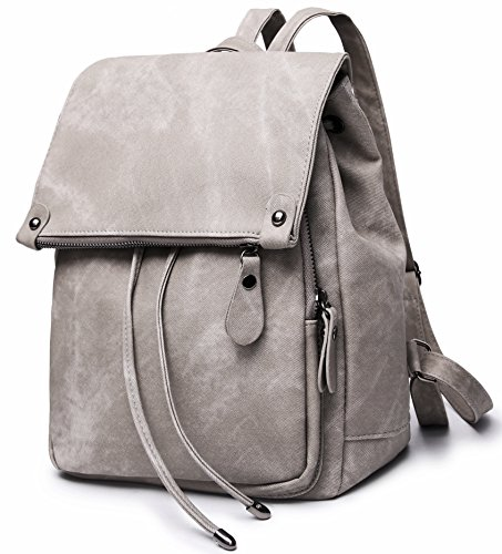 Stylish PU Leather Backpack For Women Lightweight Cute Mini Backpack For Women Fashion Design Drawstring School Waterproof Rusksack Grey by SUNNY SHOP