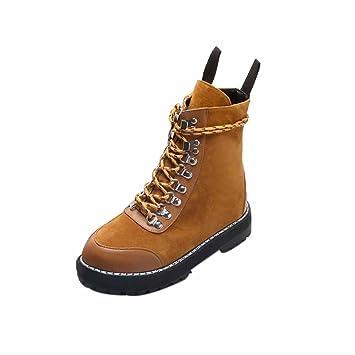 XINANTIME - Retro Botas de Nieve Mujer Otoño Invierno Calentar Botines Planos Chic Anti-deslizante Zapatos Boots de Trabajo Zapatos planos con Cordones (35, ...