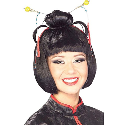 Geisha Girl Black Costume (Geisha Girl Women's Costume Wig Asian Lady Oriental Japanese Fashion)