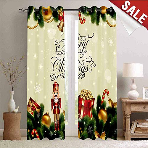 (Hengshu Waterproof Window Curtain Noel Ornaments with Birch Branch Cute Ribbons Bells Candy Canes Art Image Decorative Curtains for Living Room W72 x L108 Inch Golden Red Green)