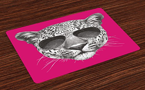 Modern Place Mats Set of 4 by Lunarable, Hipster Leopard with Aviators Sunglasses Portrait Cool Wild Animal Illustration, Washable Placemats for Dining Room Kitchen Table Decoration, Magenta - Cool Gifts For Aviators