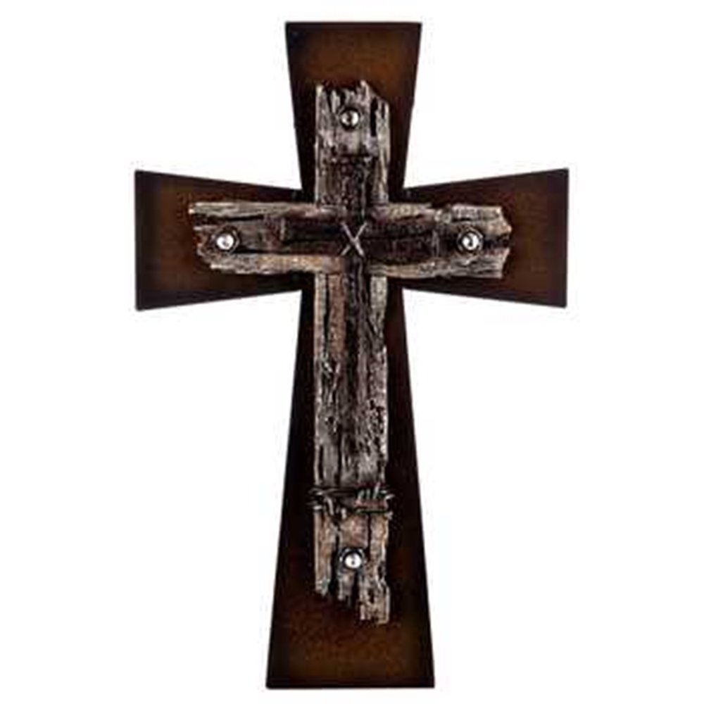 Beautiful Metal Layered Bronze Cross with Nails Home Wall Decor 13'' x 8''