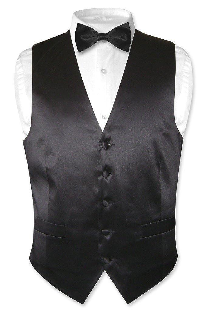 Biagio Mens Silk Dress Vest /& Bow Tie Solid Black Bowtie Set for Suit or Tuxedo
