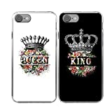 iPhone7 Couple Case-TTOTT 2x Floral King Queen Crown Slim Silicone Bumper Best Friend BFF Lovers Boyfriend Girlfriend Couple Matching Cover Case for iPhone7 4.7inch
