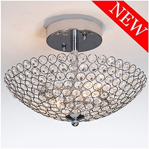POPILION Elegant 2 light Bowl Shaped Chrome Finish Metal Crystal Chandelier ,Flush Mount Ceiling Light - 2 Light Bowl Light