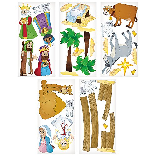 Fun Express - Nativity Animals Dar Set for Christmas - Party Decor - Wall Decor - Scene Setters - Christmas - 5 Pieces -