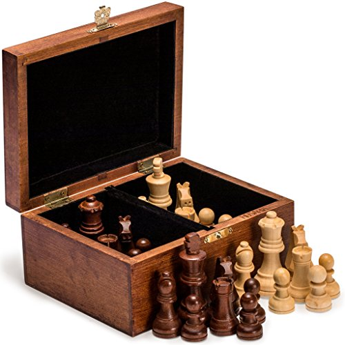 Tournament Staunton Chessmen Set - Husaria Staunton No. 4 Chessmen with 2 Extra Queens and Wooden Box, 3.1-Inch (80-Millimeter) King