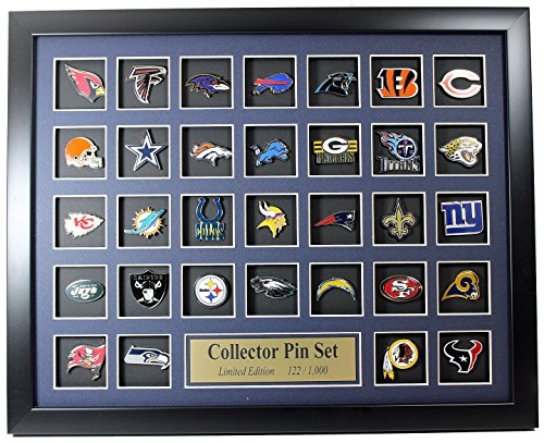 NFL Team Logo Collector Framed Pin Set - Limited Edition 1,000 by Framed Set