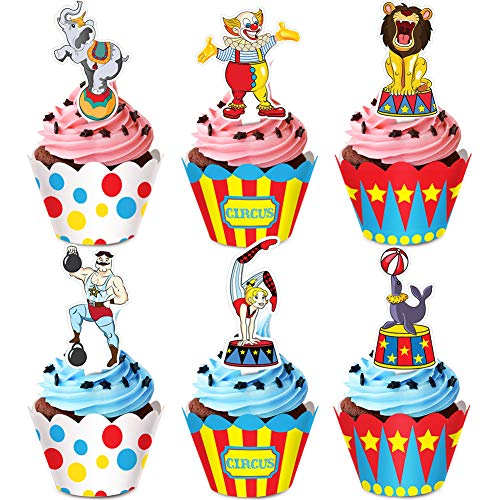 Circus Animal Cupcake Toppers and Wrappers for Carnival Circus Birthday Party Cupcake Supplies -24 Pack Cupcake Toppers and 24 Pack Wrappers ()