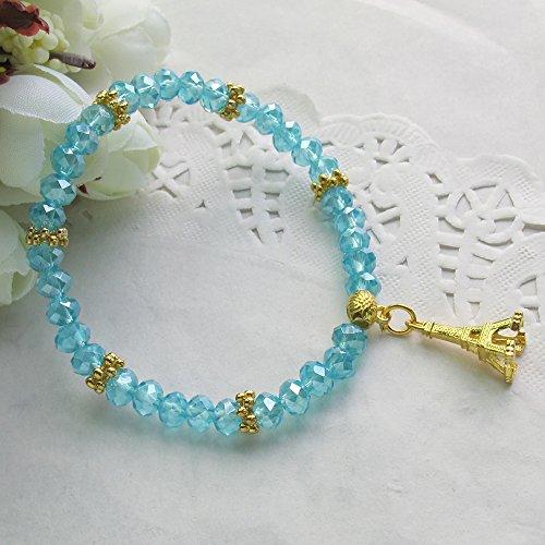 Paris Eiffel Tower Charm Crystal Bracelet (12 Pcs) - Quinceanera Favor / Wedding Favor / Birthday Favor / Baby Shower Favor