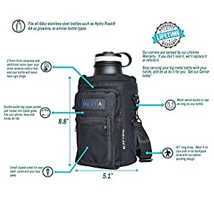 Inertia Gear Hydro Flask 64 oz Water Bottle Holder Carrier w/ Pockets worn as a Sling or Backpack (Bottle Not Included) - Black