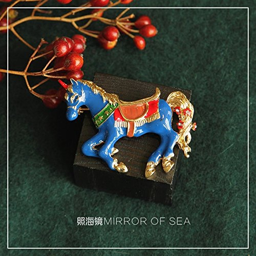 Zhaohai all models mirror glaze small droplets blue enamel engraved diamond brooch fantasy pony ()