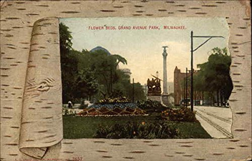 Flower Beds at Grand Avenue Park Milwaukee, Wisconsin Original Vintage Postcard
