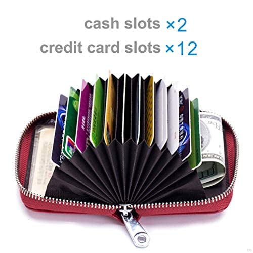 Women Credit Card Holder Small RFID Blocking Ladies Wallet with Stainless Steel Zipper Excellent Genuine Leather Accordion Wallets Case for Womens id Compact Slim Blocked Zip Accordian Cards Black