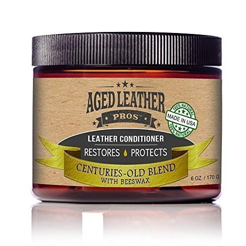 Aged Leather Pros All-Natural Leather Conditioner Cream Best Organic Leather Care for New & Old Leather Jackets, Boots, Gloves, Any Genuine Leather | Made in USA, 6 oz (Best Leather Restoration Products)