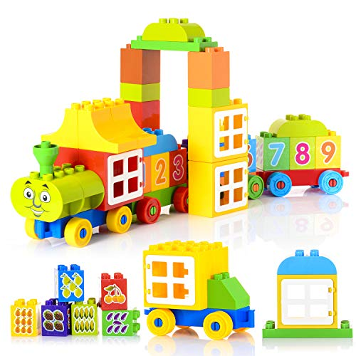 60 Pieces Number Train Learning and Counting Train Set Building Kit and Educational Toy for 2-5 Year Olds Kids Boys Girls Gift Compatible with Lego Duplo (Alphabet and Number Stickers Randomly) ()