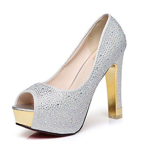 Shoes Mouth silvery Wedding Fish AGECC Shoes Heel Wedding High Professional Diamond Shoes Shoes Waterproof Rough Shoes Shoes Shoes wvqxBqRT5