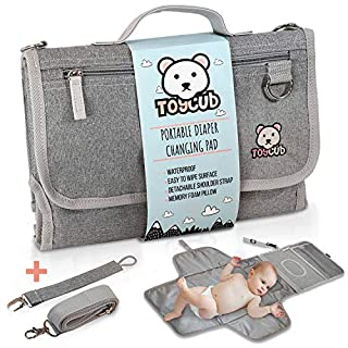 ToyCub's Portable Changing Mat - Lightweight, Easy to Clean Baby Changing Pad, Waterproof Diaper Changing Pad with Head Cushion, Detachable Portable Changing Pad for Baby Showers, Travel Changing Pad