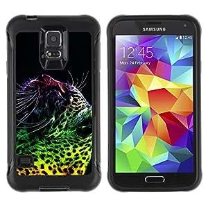 iKiki Tech / Estuche rígido - Leopard Spots Dots Big Cat Wild Neon Art - Samsung Galaxy S5 SM-G900