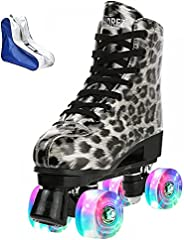 Roller Skates for Women Leopard Smooth PU Leather High-top Double-Row Roller Skate Shoes for Beginner, Indoor