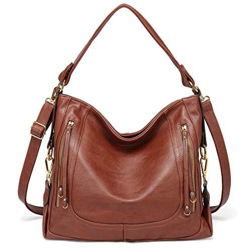 (Kasqo Women Handbag, Faux Leather Hobo Handbag Shoulder Bag with Detachable Strap Brown)