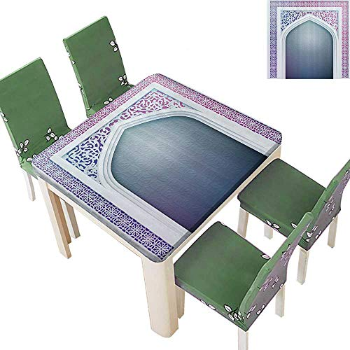 Printsonne Indoor and Outdoor Tablecloth ld shi Ottoman Arch Door Surrounded by Digital Featured Sacred Geometry Liquid Spills Bead up 50 x 50 Inch ()