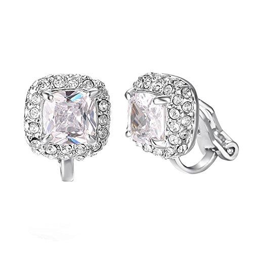 Yoursfs CZ Clip Earrings For Women 18K Rose Gold Plated Elements Zirconia Clip-on Earrings (Clipon Earrings)...