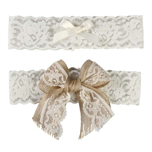 Ivy Lane Design Country Romance Bridal Garter Set, Medium, Ivory