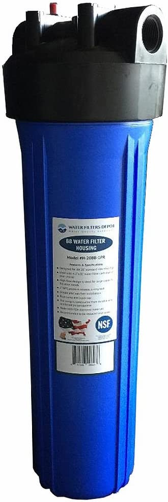WFD, H-20BB-1PR 20-inch High Flow Big Blue BB Water Filter Housing with Pressure Release, 1-inch NPT