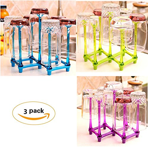 Elibeauty Durable Bottle Foldable Drying Rack Water Mug Drainer Stand Tray Holder 3 Pack