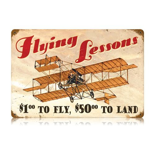 Flying Lessons Aviation Vintage Metal Sign - Victory Vintage Signs