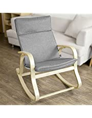 Haotian FST15-DG Comfortable Relax Rocking Chair,Lounge Chair Relax Chair with Fabric Cushion