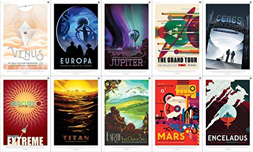 Digital Fusion Prints NASA JPL x10 Pack - Space Tourism Travel Posters - Mars, Earth, Mercury, Europa, etc. (All 10-8x12) (Unframed) - LIFESPAN Archival Inks in The U.S.A