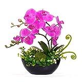 YILIYAJIA Artificial Orchid Bonsai Fake Flowers with Vase Arrangement 5 Head PU Phalaenopsis Bonsai for Home Table Decor(Black Vase)