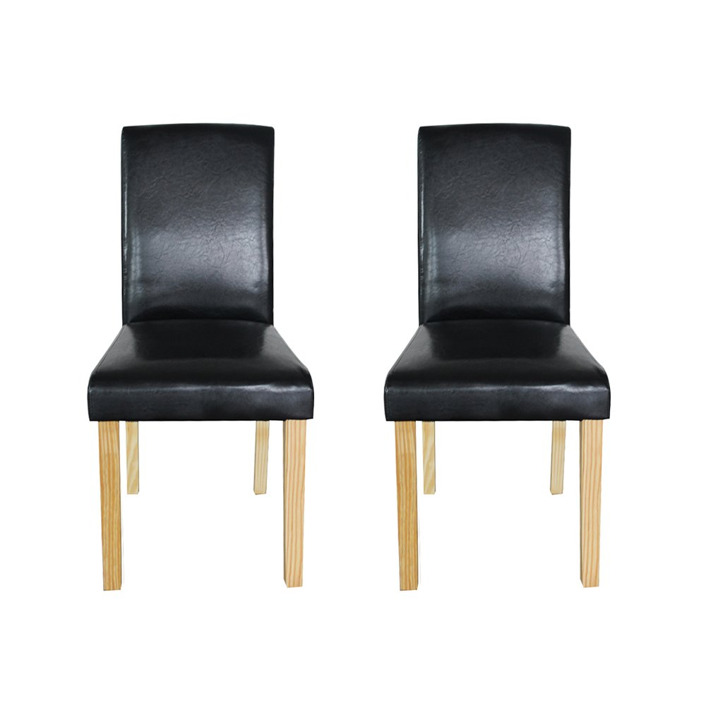 WV LeisureMaster Set of 2 Black Faux Leather Dining Chairs With Original Solid Wooden Legs and High back For Home&Commercial Restaurants