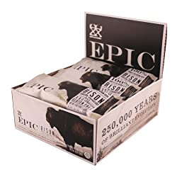Epic All Natural Meat Bar, Grass Fed, Bison, Uncured Bacon & Cranberry, 1.3 Ounce Bar, (Pack Of 12)