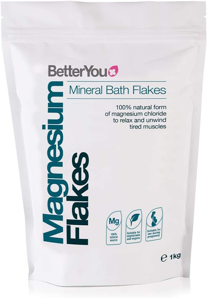 BetterYou Magnesium Flakes | Pure, Clean and Natural Source Magnesium Chloride Bath Flakes | Cleansing Bath | Vegan & Palm-Oil Free | 35 oz