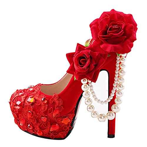 Toasting Wedding Fine Hair Heels Bride'S Wedding 5 Red Women'S High Heel Formal Dress Rhinestone 10Cm Peony Flower VIVIOO Sandals 5 Prom Dress zvqTZZ