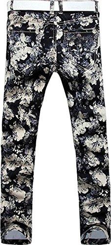Uomo Tendenze black Casual Moda J242 Uomini Jeansian Jeans Pantaloni Denim Sottile Stampa 7q4xxCwt