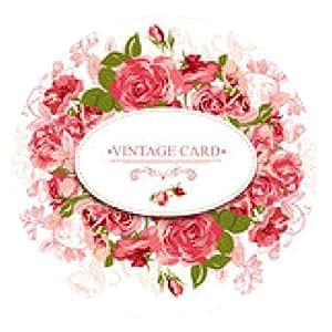 alfombrilla de ratón Tarjeta floral de la vendimia con las rosas - ronda - 20cm