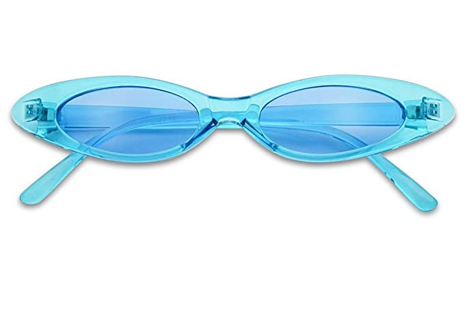 bc1eac583e Small Ultra Slim Colorful Translucent Vintage Oval Cat Eye Sun Glasses  (Crystal Blue)