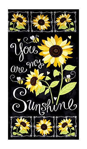 Timeless Treasures Sunshine Sunflower Chalkboard 23.5in Panel Black Fabric