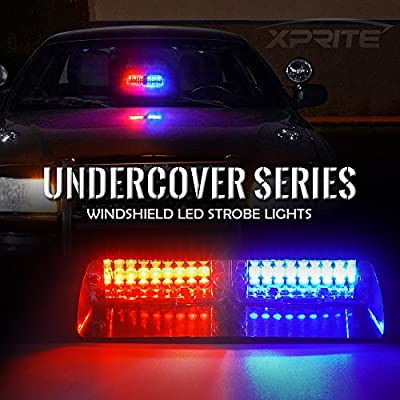 Xprite Red & Blue 16 LED High Intensity LED Law Enforcement Emergency Hazard Warning Strobe Lights for Interior Roof/Dash/Windshield with Suction Cups: Automotive