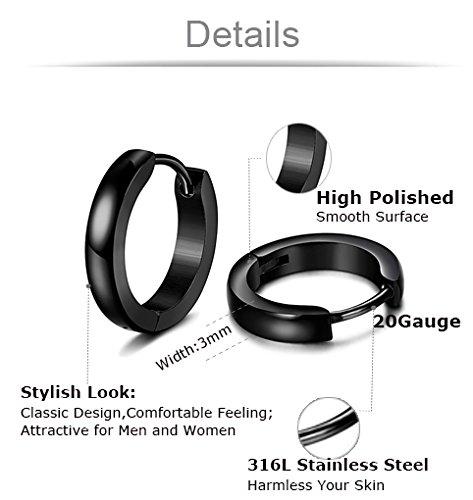 Jstyle Pairs Steel CZ Stud for Mens Hoop Piercing Black