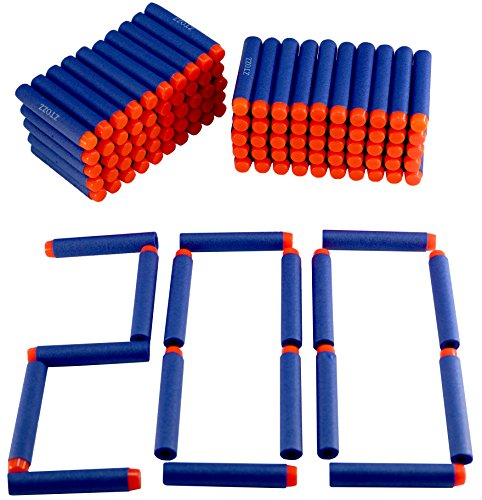 Nerf Darts 200 Compatible Bullets Hard Head for Elite N Strike Refill Series Pack for Kid Toy Gun Fire Blaster by ZTOZZ (Blue Hard Tip, 200pcs)