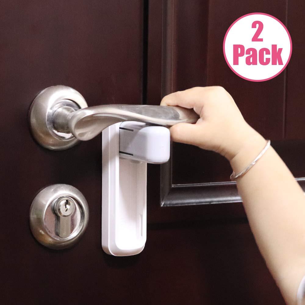 EUDEMON 2 Pack Door Lever Lock,Baby Proofing Door handle Lock,Childproofing Door Knob Lock Easy to Install and Use 3M VHB Adhesive no Tools Need or Drill Easy to Remove White, 2