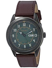Seiko Men's 'RECRAFT' Quartz Stainless Steel and Leather Casual Watch, Color:Brown (Model: SNE448)