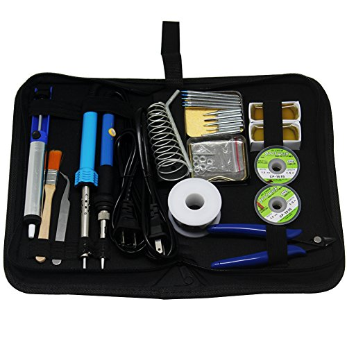 AideBench SPE1 Soldering Iron Kit 23-in-1 30W 60W Soldering Iron,Soldering Tips,Desoldering Pump, copper wire, rosin, tweezers,Soldering Iron Stand, brush, Soldering Tool Kit Carry Bag by AideBench