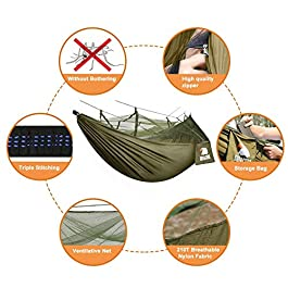 Camping Hammock with Net – Lightweight COVACURE Double Hammock, Portable Hammocks for Indoor, Outdoor, Hiking, Camping, Backpacking, Travel, Backyard, Beach