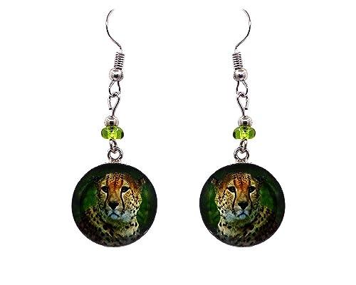 Amazon.com: Mia Jewel Shop Cheetah - Pendientes colgantes ...